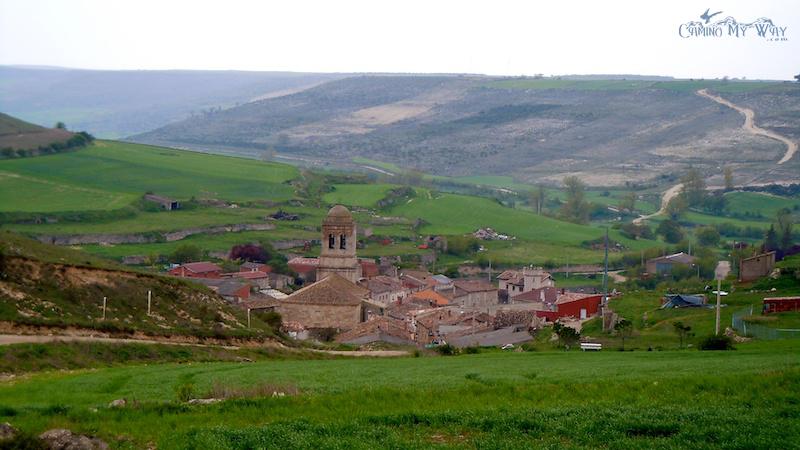 Photo of Village, farmland, green, hills, clouds, Hontanas, Spain