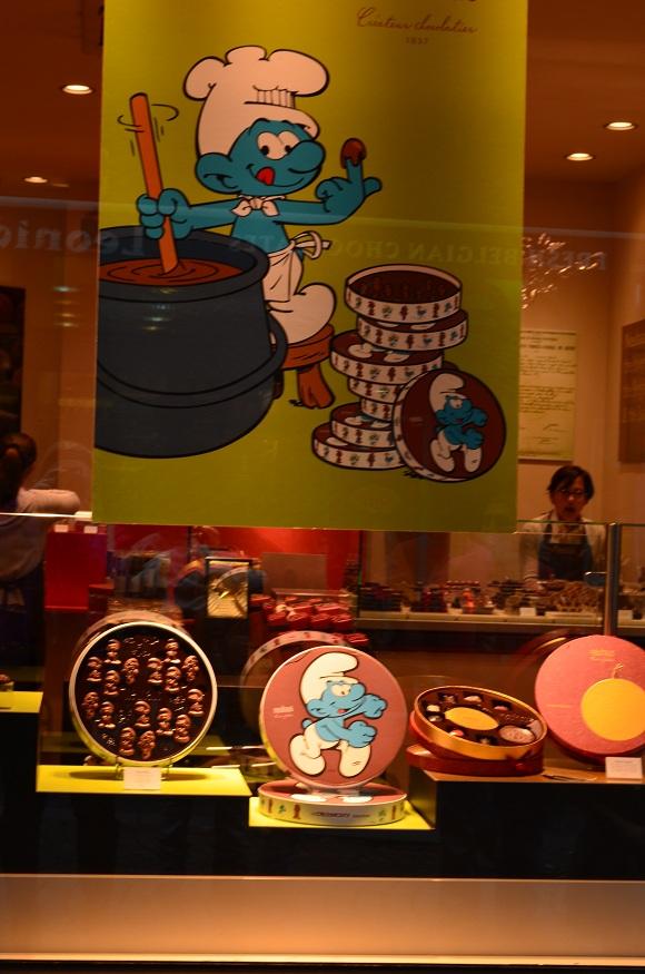 Chocolate Smurf, Brussels, Belgium, Chocolate shop, cartoon
